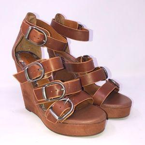 LUCKY BRAND High Heel buckle wedges sz 8 brown